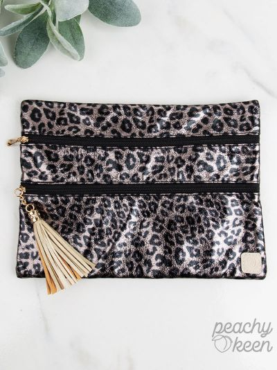 {METALLIC JUNGLE} Leopard Double Zipper Bag