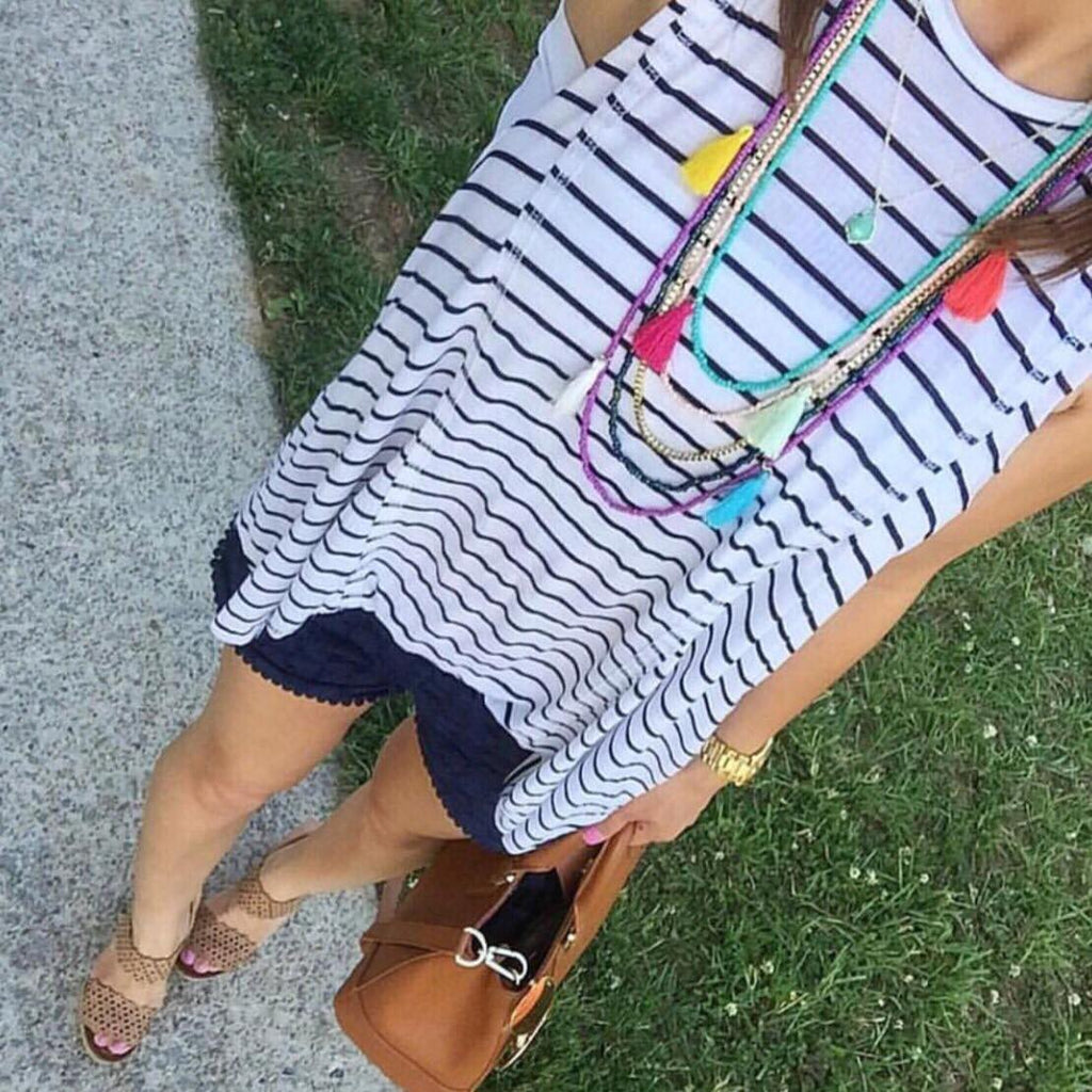 """Meghan"" Multi-Colored Tassel Necklace"