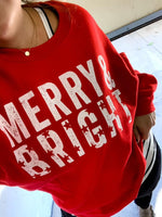 {BRIGHTLY SHINING} Red MERRY & BRIGHT Vintage Stars Crew Neck Sweatshirt