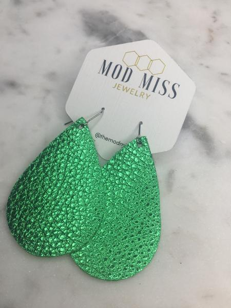 """Verde"" Metallic Green Chunky Leather Teardrop Earrings"