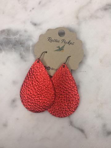 """Dazzler"" Metallic Red Leather Teardrop Earrings"