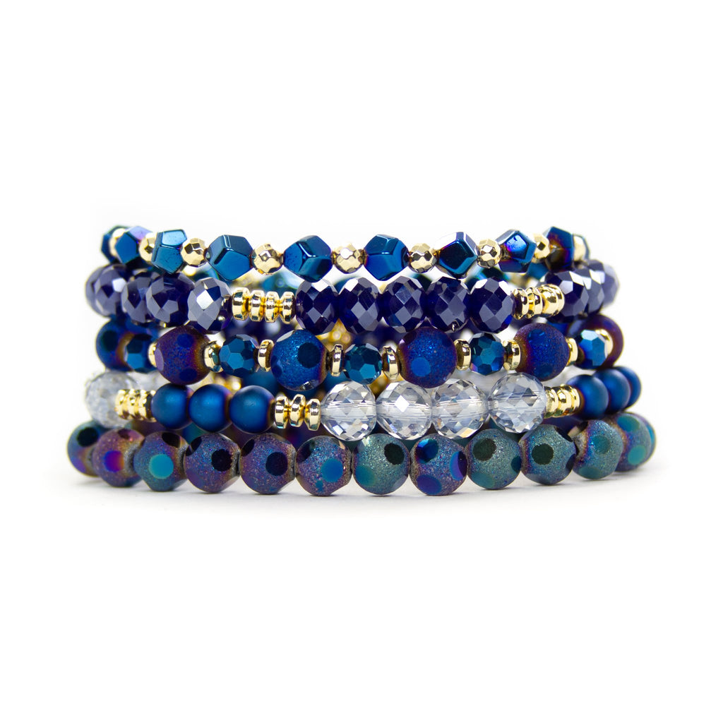 {MIDNIGHT} Navy Blue + Gold Bracelet Set {Set of 5}