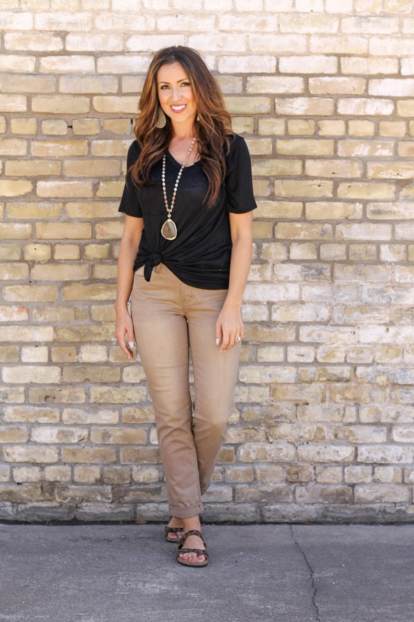 """Rae"" MOCHA Colored Boyfriend Jeans"