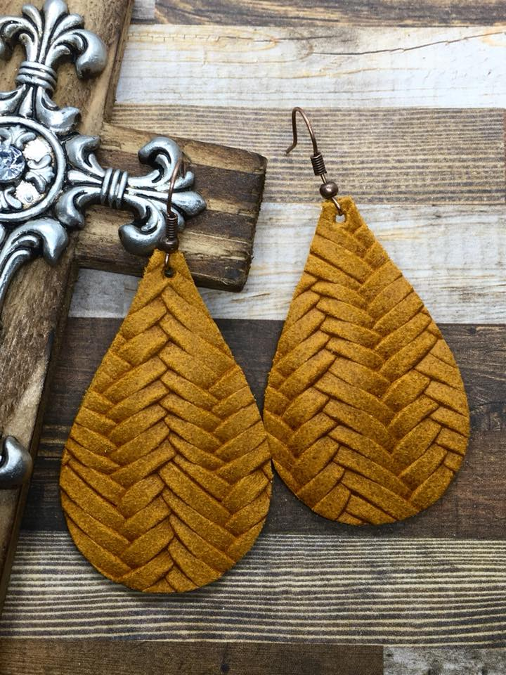 """Felicity"" Mustard Fishtail Braided Italian Leather Teardrop Earrings"