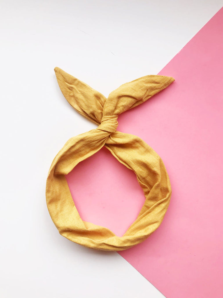 {MUSTARD LINEN} Headband With A Twist