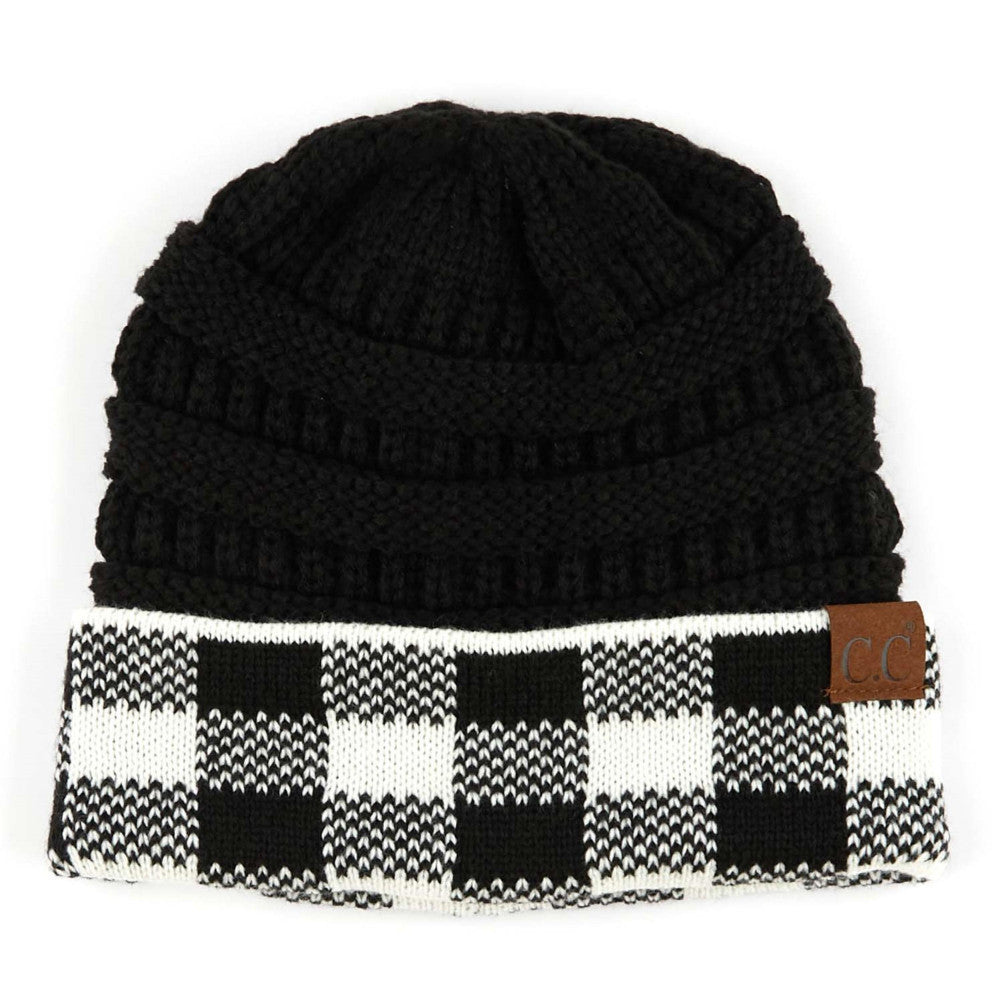 {NELLIE} White+ Black Buffalo Plaid CC Beanie Hat