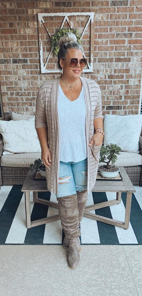 {NORTH SHORE} Tan + Black Stripes Cardigan with Pockets