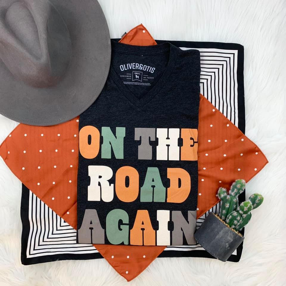 {ON THE ROAD AGAIN} Charcoal V-Neck Tee