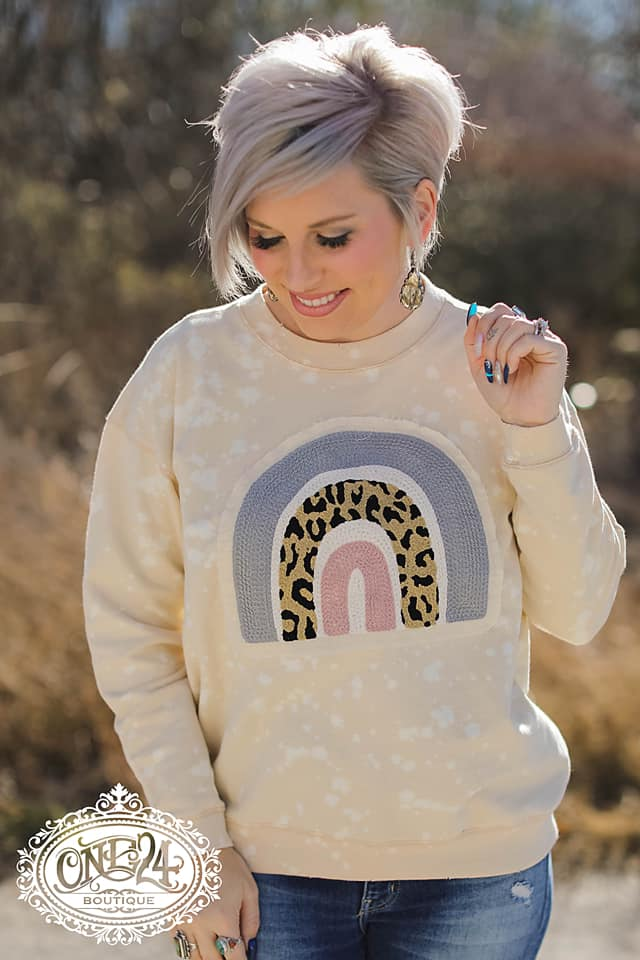 {SOMEWHERE OVER THE RAINBOW} Leopard Style Chenille Patch Distressed Cream Sweatshirt