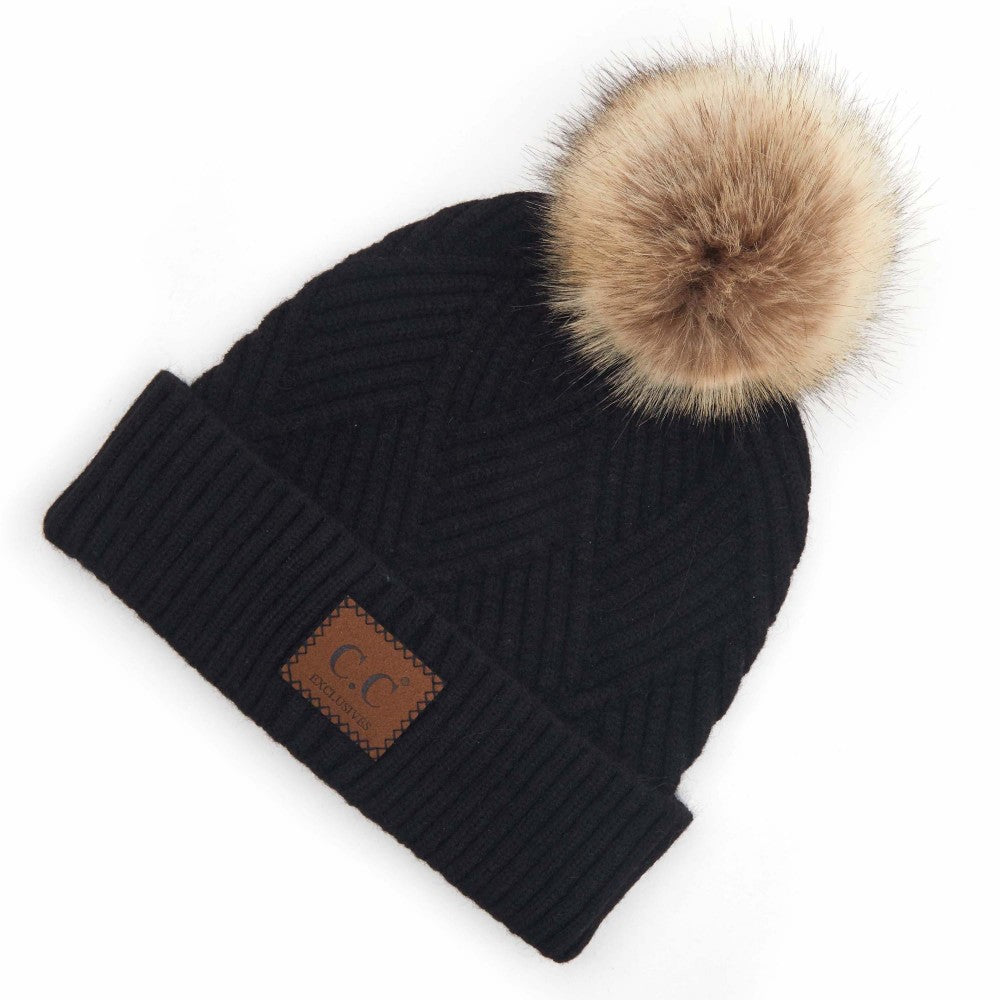 {PEARL} Black Mix Leather Patch Pom CC Beanie