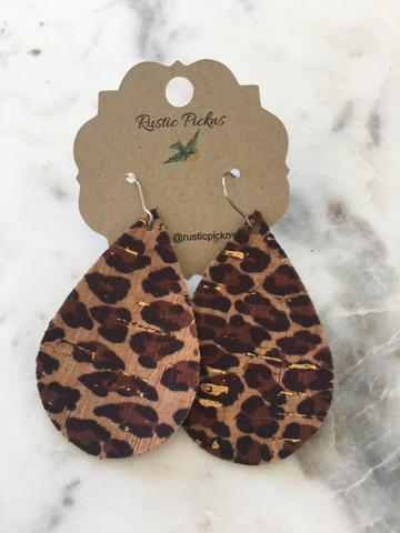 """Phoebe"" Leopard Cork with Gold Flakes Chunky Teardrop Earrings"