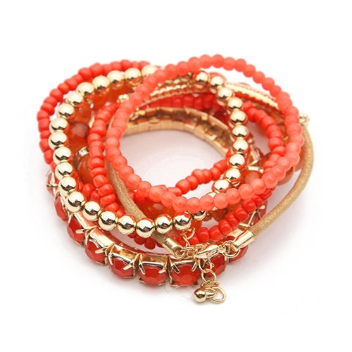"""Pippa"" CORAL Multi-Layer Stretch Bead Bracelet Set"