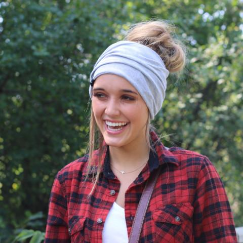 {BLACK + WHITE PLAID} Peek-A-Boo Messy Bun Beanie