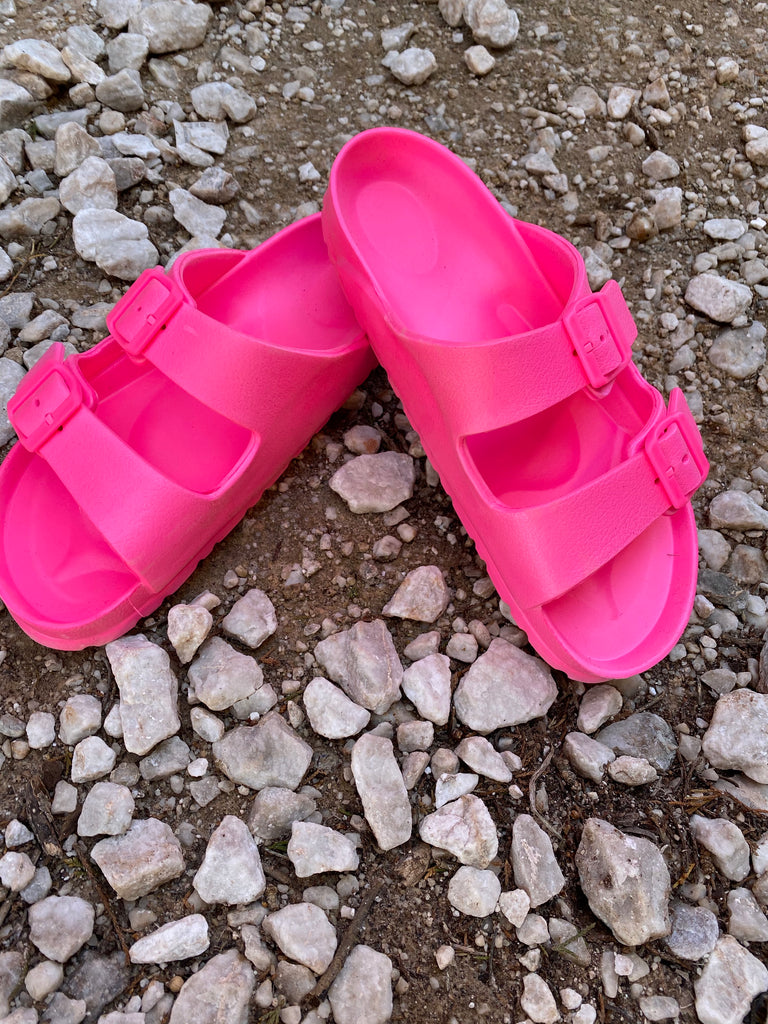 {LAYNIE} Neon Pink Double Buckle Slide Sandals