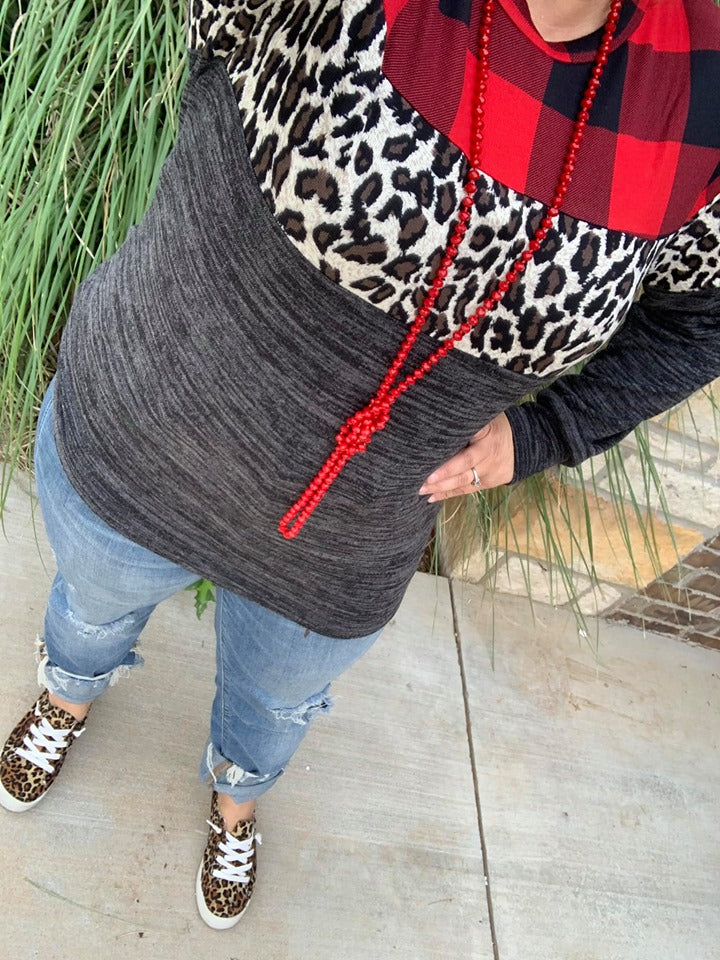 {RAD FOR PLAID + LEOPARD} Black Color Block Long Sleeve Top