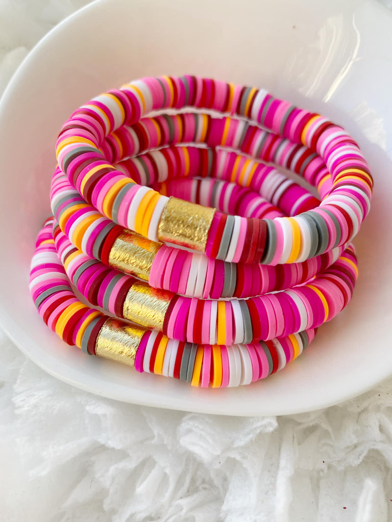 Raspberry Sherbet {COLOR POP} Heishi Beads Bracelet