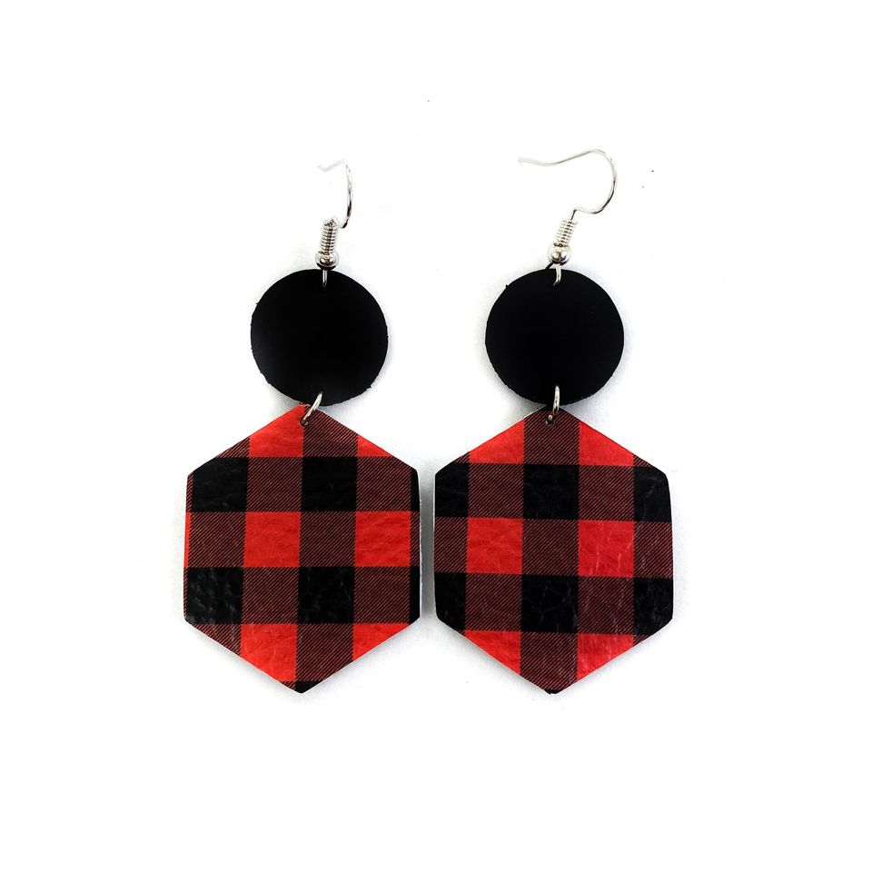"""Paul Bunyan"" Red + Black Buffalo Plaid Mix + Match Hexagon Leather Earrings"