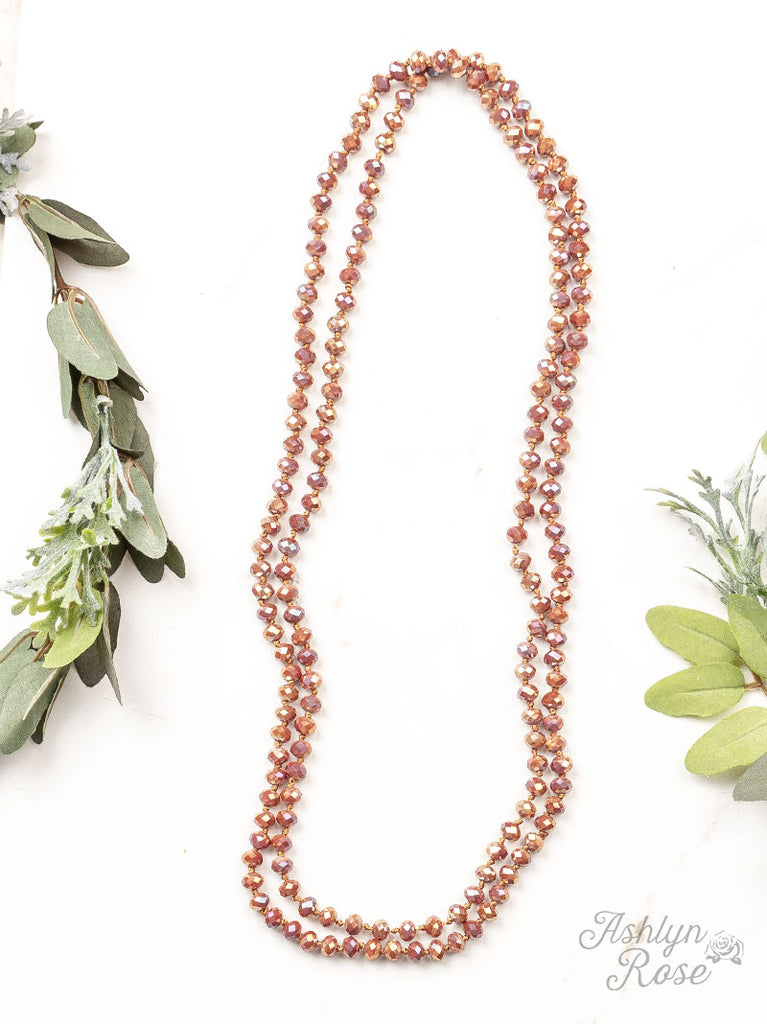 "•ROSE GOLD + COPPER• Double Wrap Beaded 60"" Necklace"