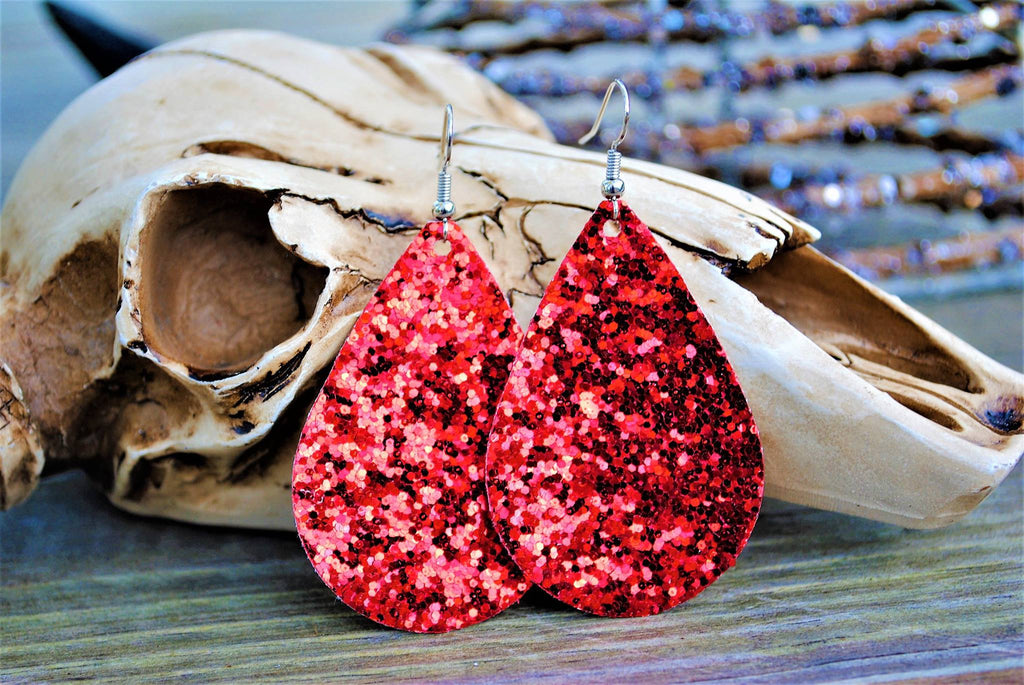"""Ruby Red Slippers"" Glitter Canvas Chunky Teardrop Earrings"