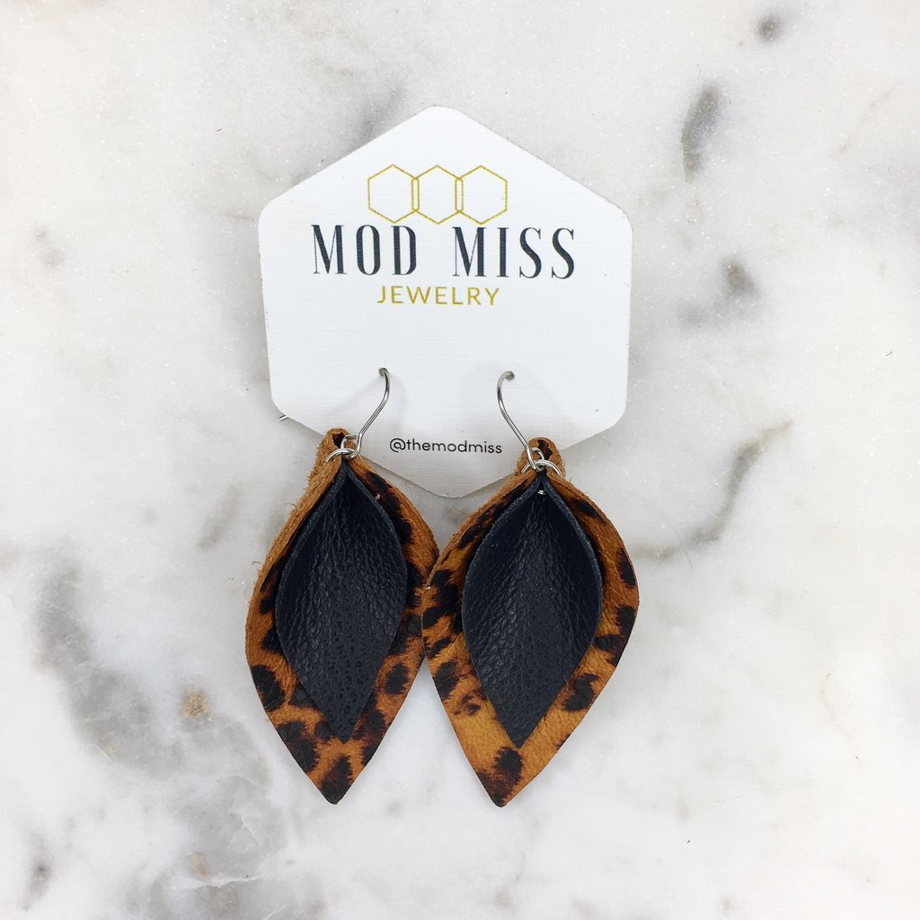 """Samantha"" Leopard + Black Stacked Leather Petal Earrings"