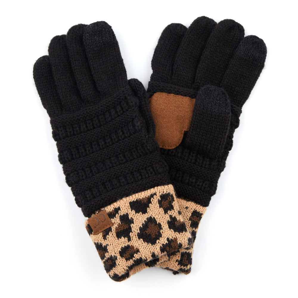 GLOVES {SAMMI} Leopard + Black CC Beanie Gloves