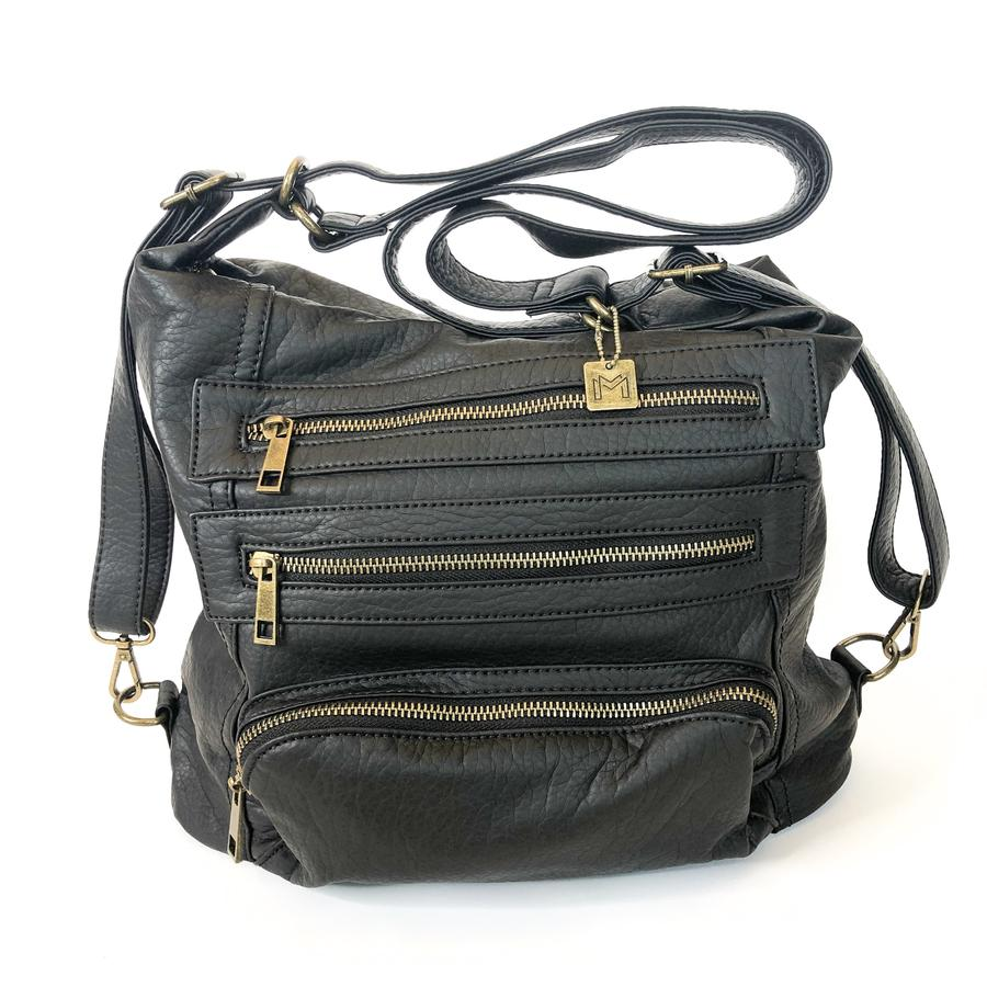 {DIXIE} BLACK Convertible Handbag {Made to Wear THREE Ways}