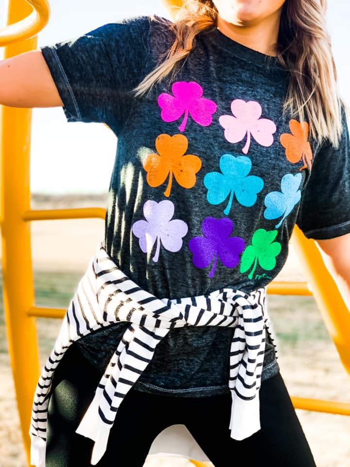 {SHAMROCK TWIST + SHOUT} Colorful Shamrocks Black Acid Wash Crew Neck Tee