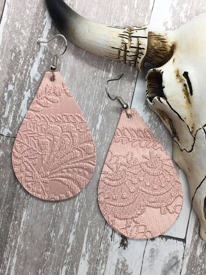 """Shimmery Blush"" Blush Pink Embossed Faux Leather Chunky Teardrop Earrings"