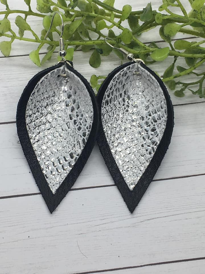 {SLITHER} Black + Silver Snakeskin Leather Stacked Petal Earrings