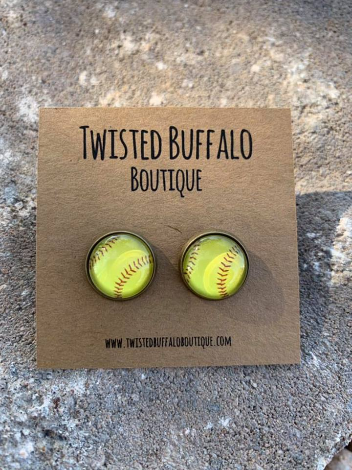 {SOFTBALL} Round 12mm Earrings