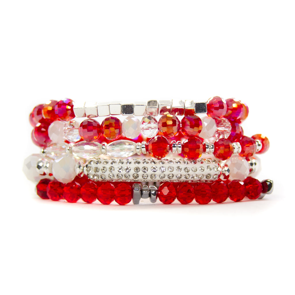 EXTENDED {SPARKLE} Red + White Bracelet Set (Set of 5)