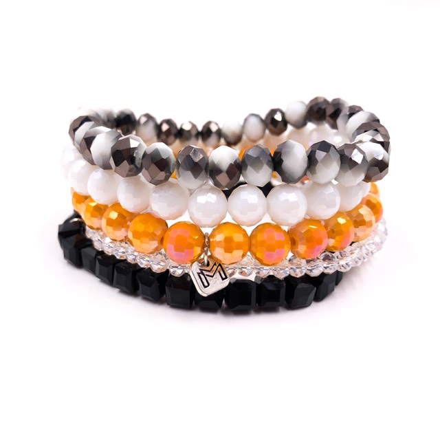 {STILLWATER} Orange, Black + White Bracelet Stack