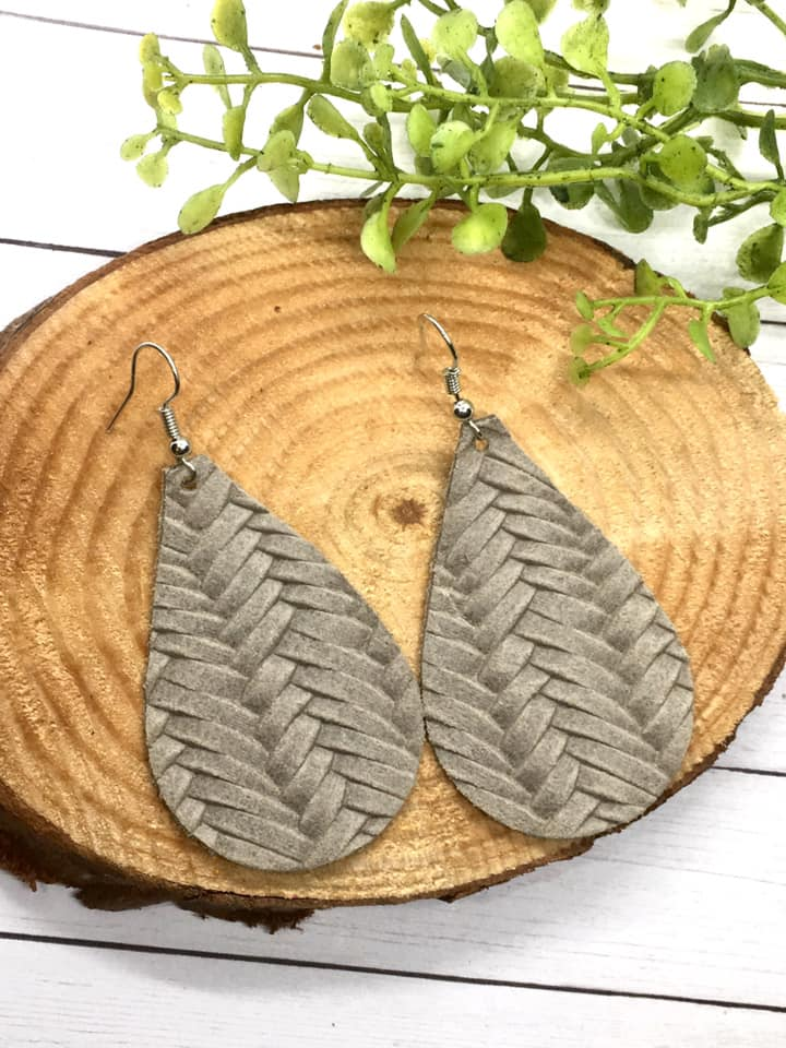 """Stonewash"" Light Gray Fishtail Braided Leather Chunky Teardrop Earrings"
