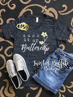 {SUCK IT UP BUTTERCUP} Black Marble V-Neck Tee