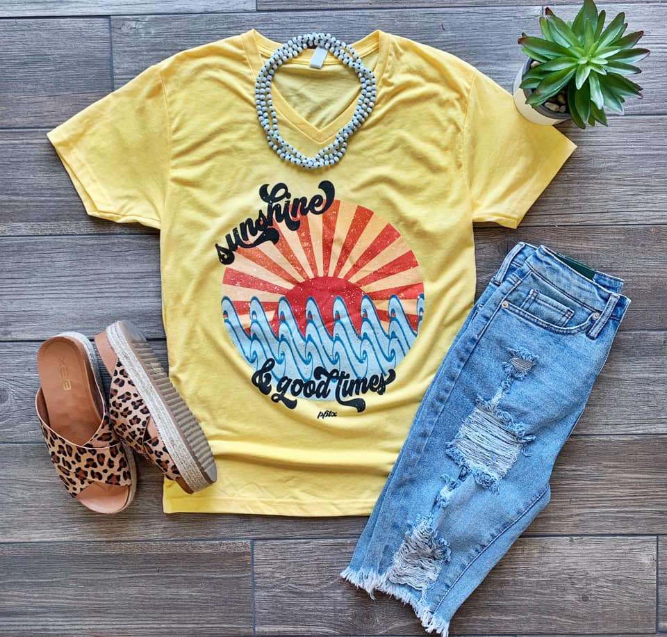 {SUNSHINE + GOOD TIMES} Banana Yellow V-Neck Tee