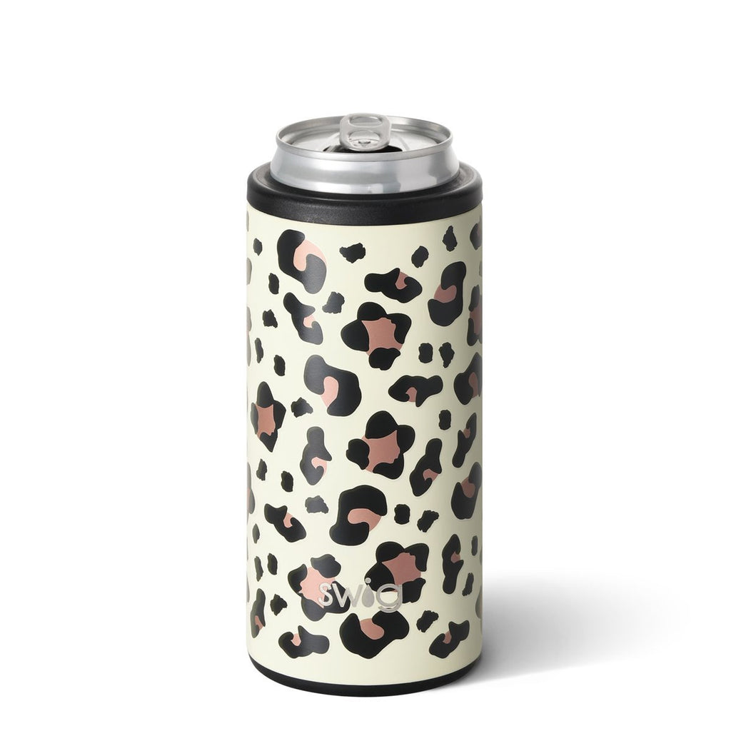 SWIG {LUXY LEOPARD} Skinny Insulated Stainless Steel Can Cooler (12 oz.)