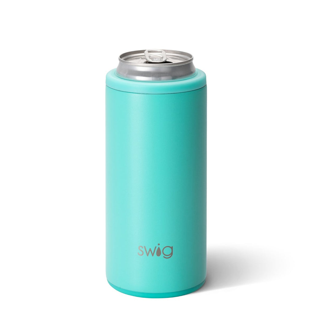 SWIG {MATTE AQUA} Skinny Insulated Stainless Steel Can Cooler (12 oz.)