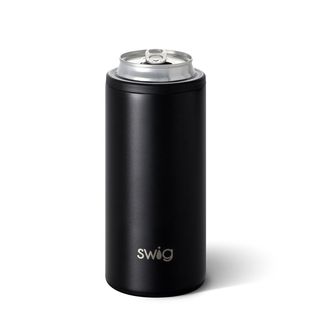 SWIG {MATTE BLACK} Skinny Insulated Stainless Steel Can Cooler (12 oz.)