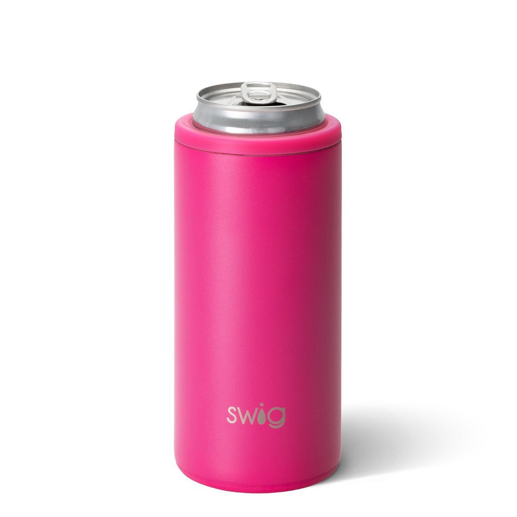 SWIG {MATTE HOT PINK} Skinny Insulated Stainless Steel Can Cooler (12 oz.)