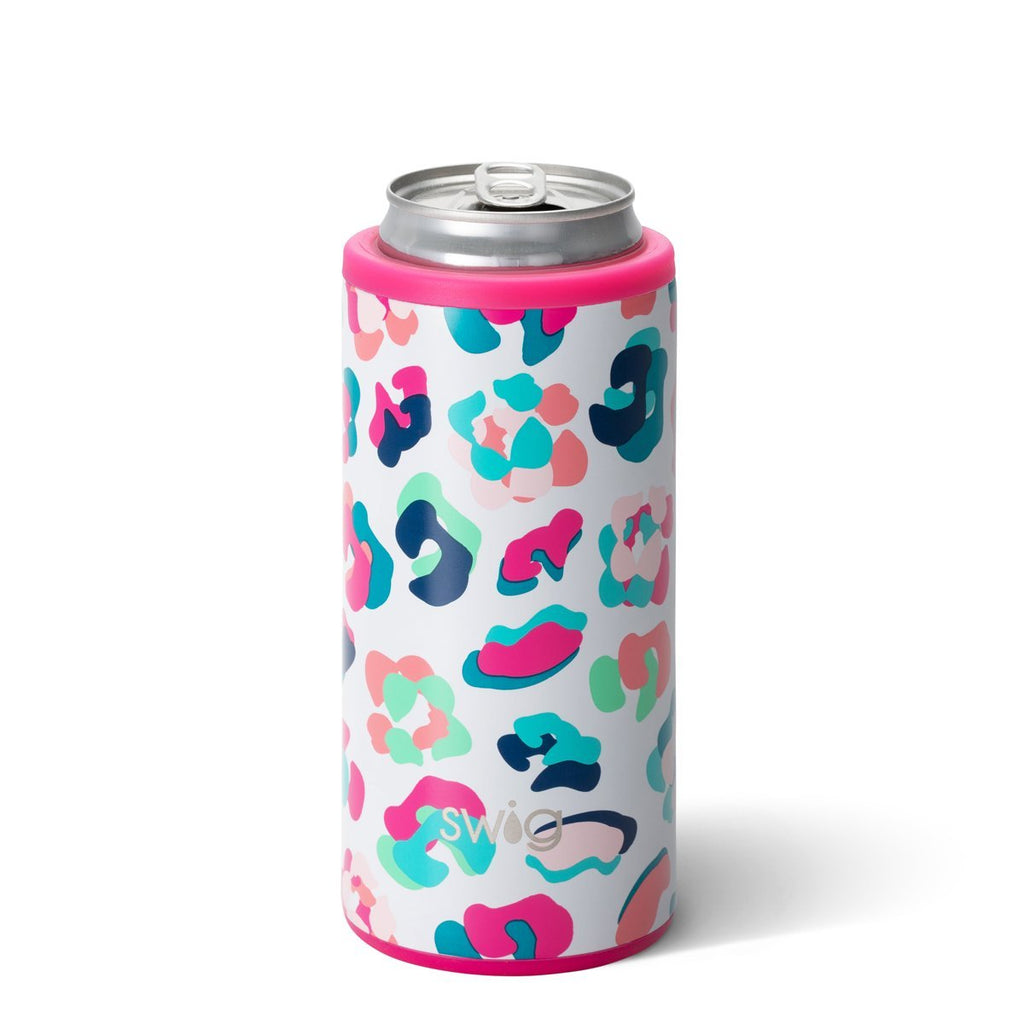 SWIG {PARTY ANIMAL LEOPARD} Skinny Insulated Stainless Steel Can Cooler (12 oz.)