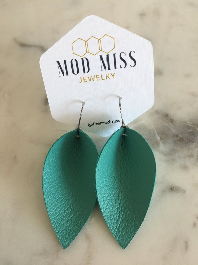 """Sydney"" Aqua Leather Jo Petal Earrings"