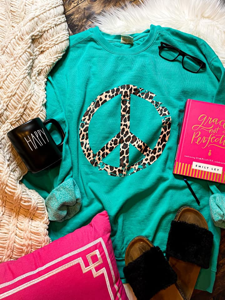 {PEACE OUT} Leopard Peace Sign Teal Sweatshirt