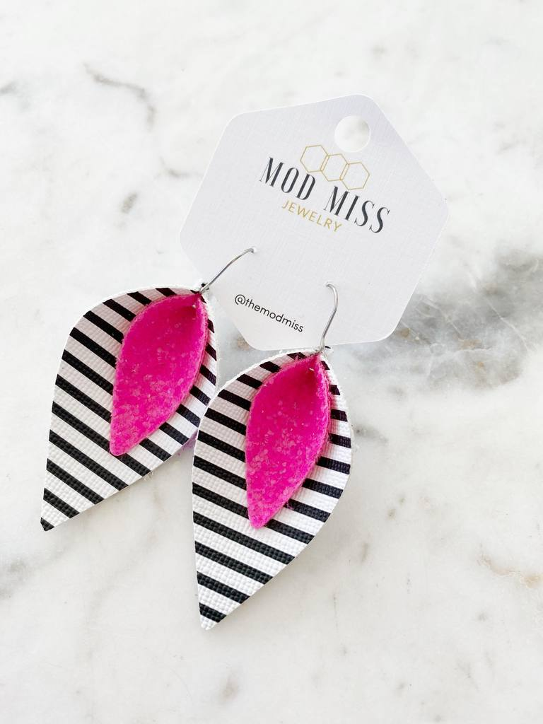 """The Hop"" Neon Pink Glitter + Stripes Double Stacked Petal Earrings"