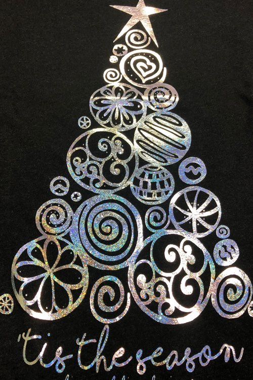 {'TIS THE SEASON} Super Sparkly Christmas Tree Heather Black Short-Sleeve V-Neck Tee