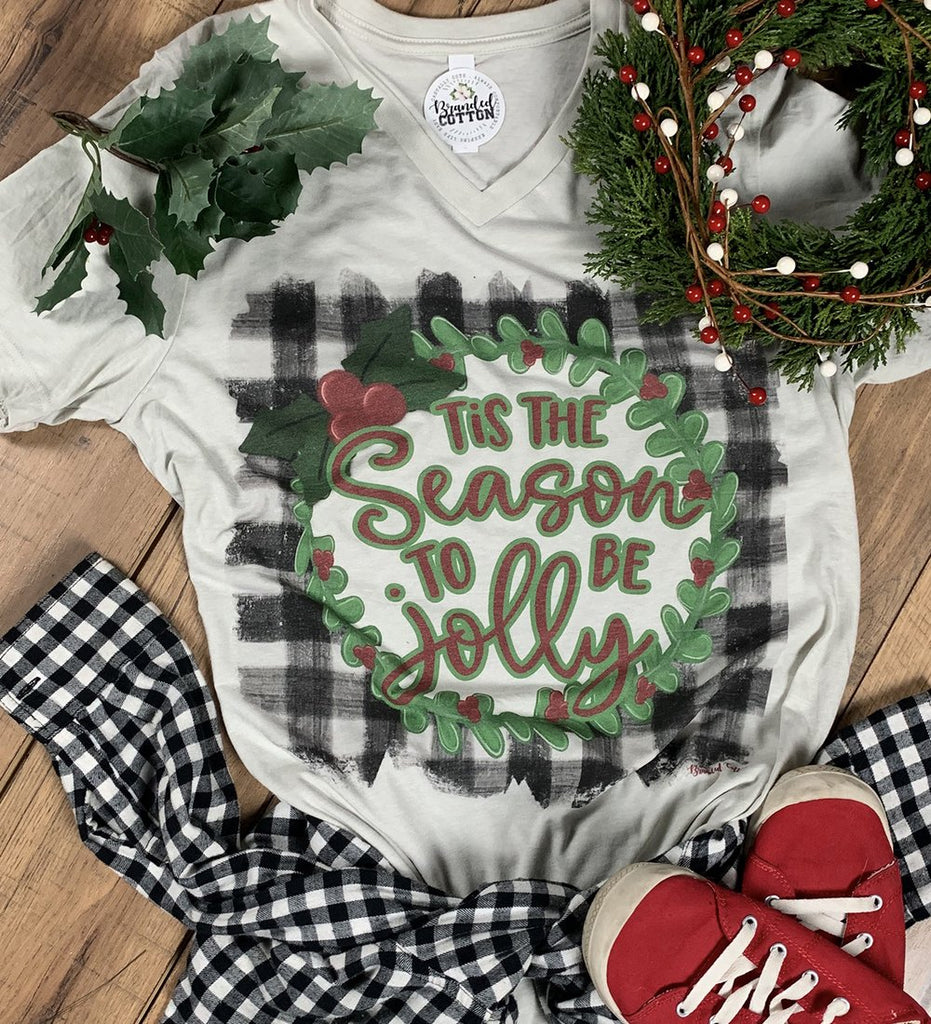 {SEASON'S GREETINGS} Tis the Season To Be Jolly Plaid Wreath Cement V-Neck Tee