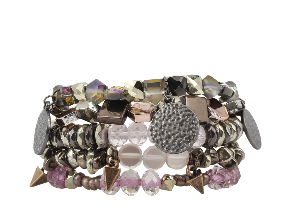 {TWISTER} Erimish {Pink, Bronze, Hematite + Gold} Stack {Set of 5 Bracelets}