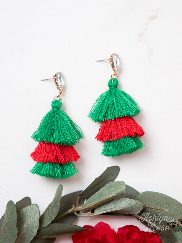{UNWRAPPED} Red, Green + Bedazzled Christmas Tassel Earrings