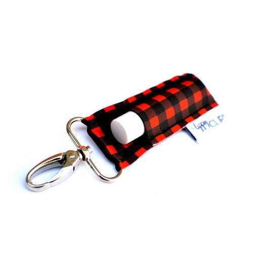 {LippyClip Lip Balm Holder} RED + BLACK BUFFALO PLAID