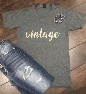 GRAY Distressed {VINTAGE} V-Neck Tee