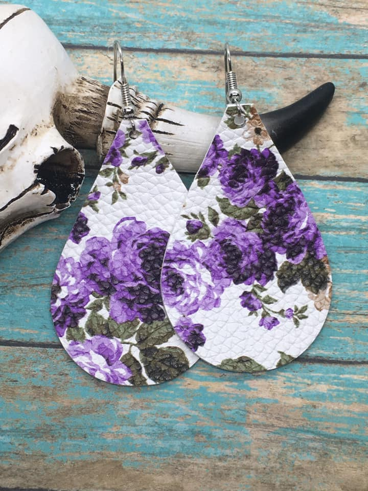 """Violet Gardens"" Chunky Teardrop Earrings!"